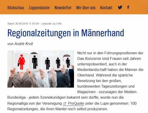 """Zapp, SpOn und Meedia über """"Regionalzeitungen in Männerhand"""""""